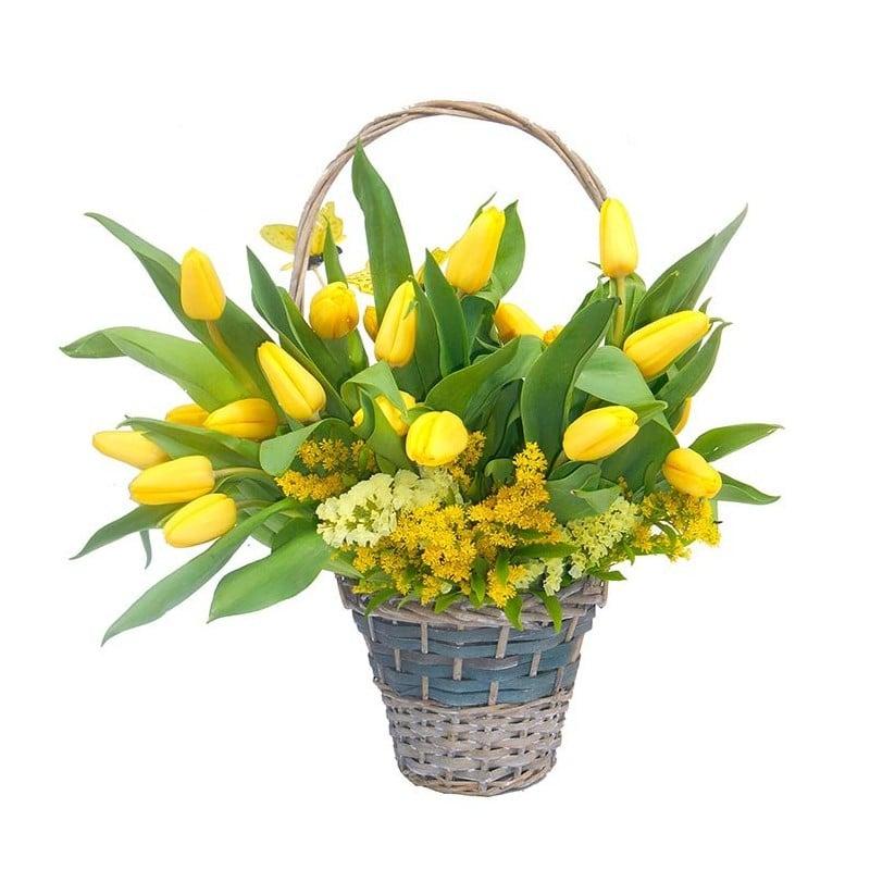 Cesta de tulipanes