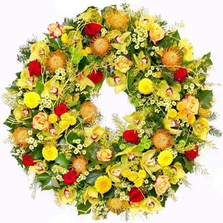Corona de Orquídeas y Rosas