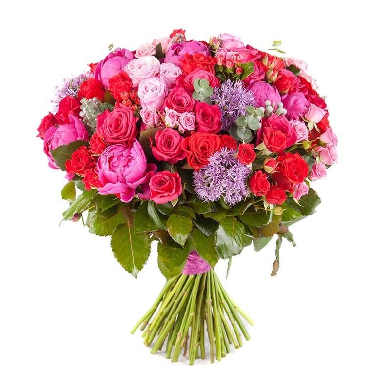 Ramo de peonías y rosas.