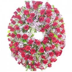 Corona Difuminada de Rosas Rojas