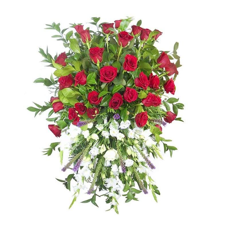 Palma de flores funeral bicolor