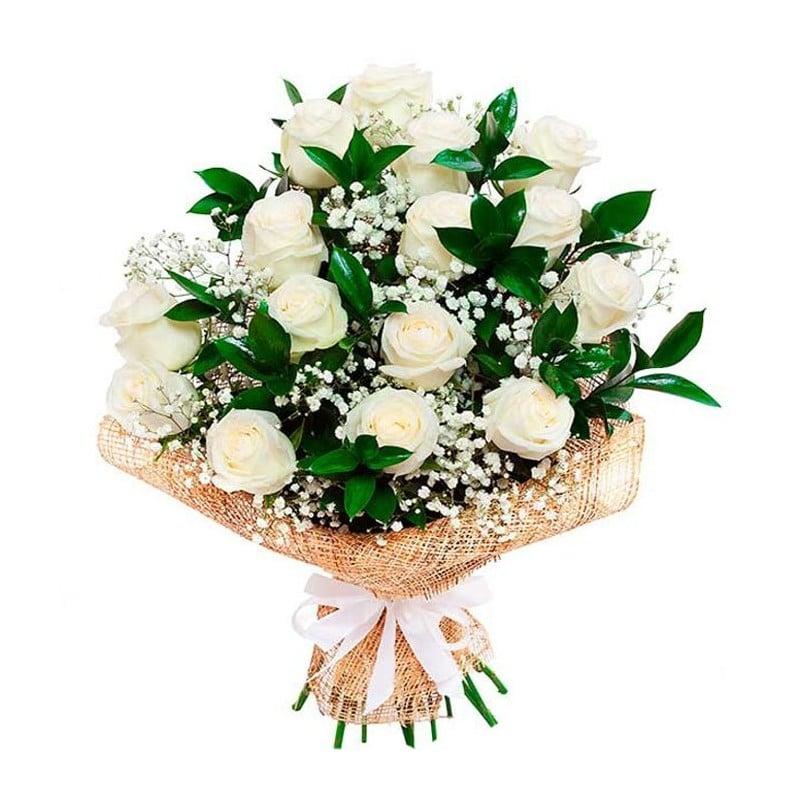 15 Rosas blancas tallo de 50 cms