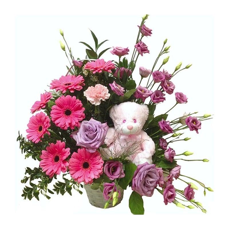 Centro de flores Osito