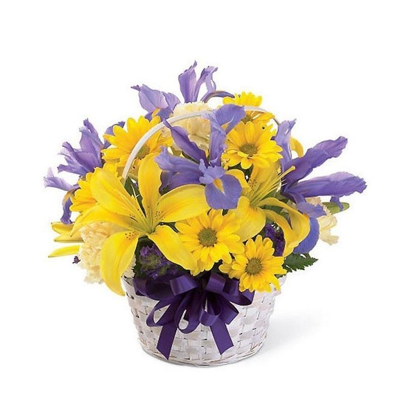 Centro de flor de iris y lilium amarillo