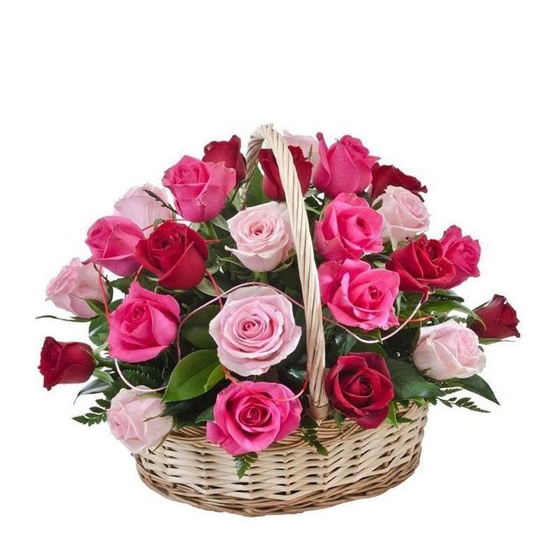 Centro de rosas de colores Arco Iris