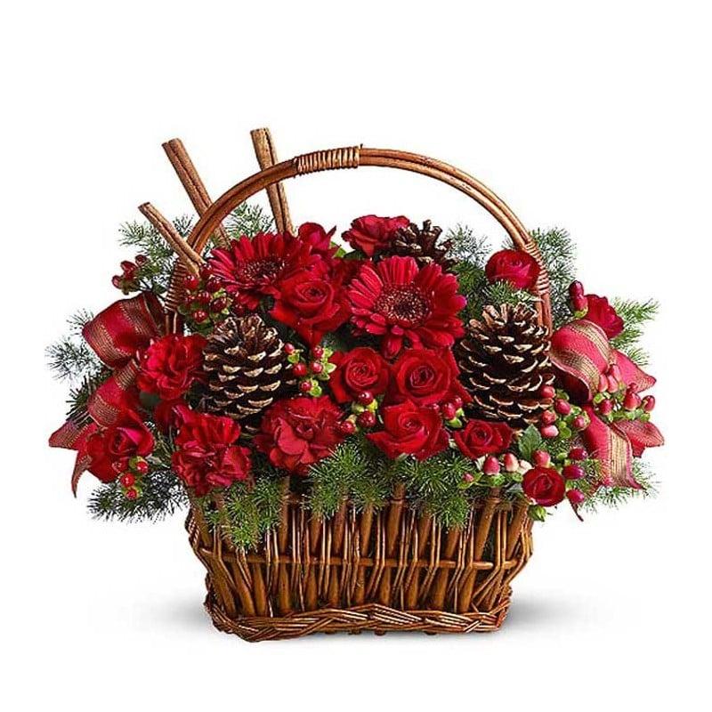 Cesta de flores navideña