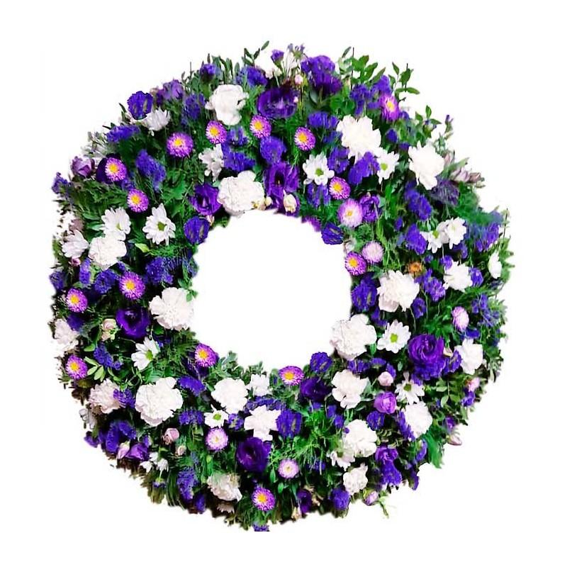 corona de flores purpura