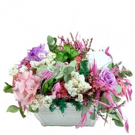 Hortensias y rosas preservadas