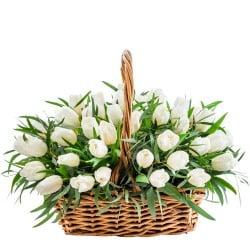 Comprar cesta de tulipanes blancos en Madrid