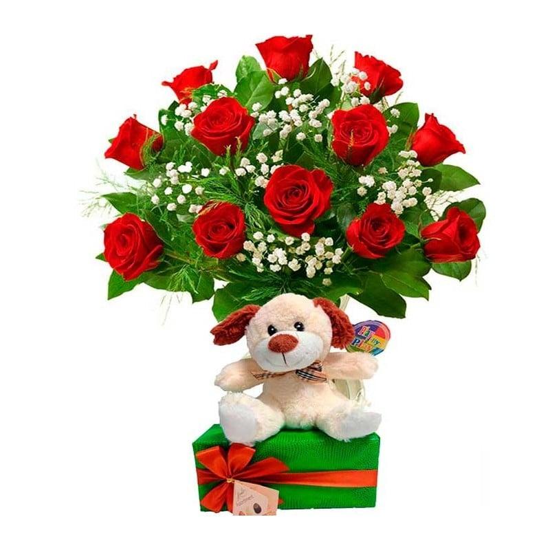Rosas rojas. Peluche y Bombones.