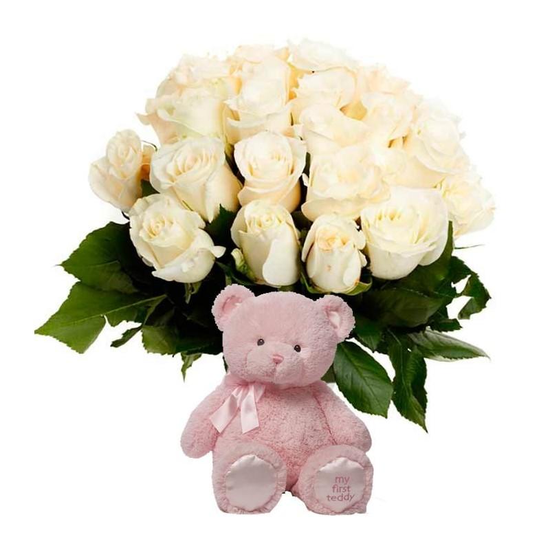 20 Rosas blancas y peluche rosa
