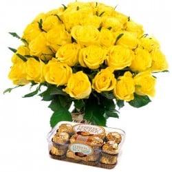 20 Rosas amarillas y Bombones