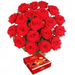 20 Rosas rojas Tc y Bombones