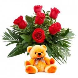 6 Rosas rojas y peluche