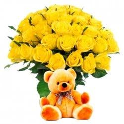 20 Rosas amarillas y Peluche