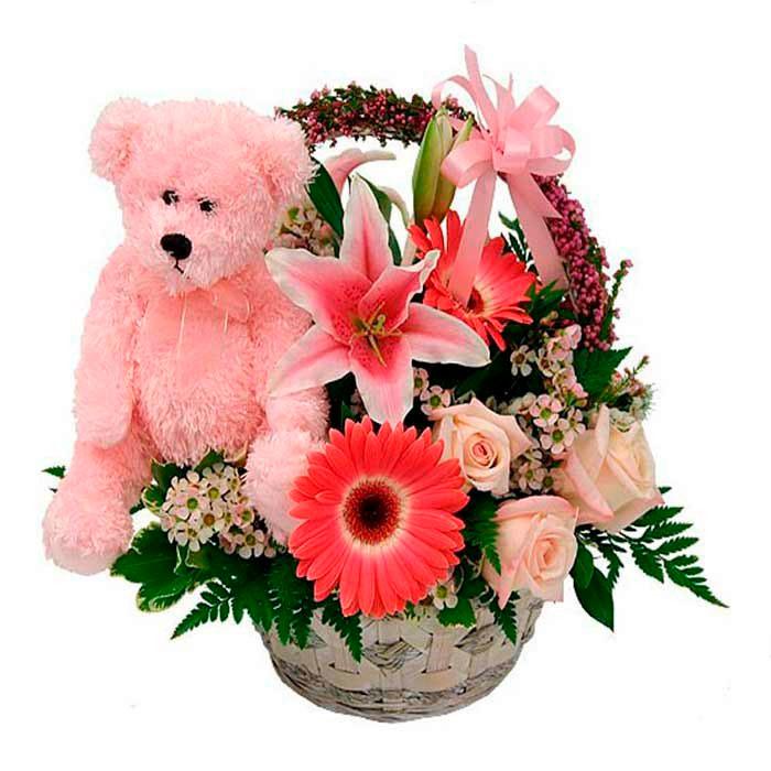 Cestas de flores para nacimientos
